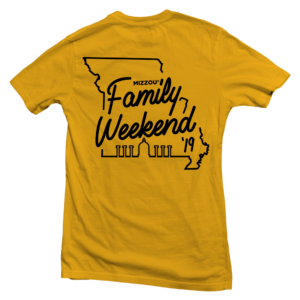 Back of Family Weekend T-shirt
